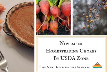 November Homesteading Chores by USDA Zone